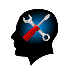 Human head with a screwdriver and wrench on vector