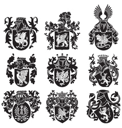 Set of heraldic silhouettes no2 vector