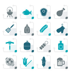 stylized grilling and barbecue icons vector image