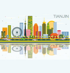 tianjin skyline with color buildings blue sky and vector image
