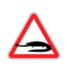 Attention crocodile alligator on red triangle vector