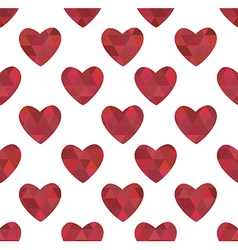 Red hearts in the crystalline style vector