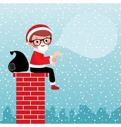 Santa Claus sitting on a chimney vector image