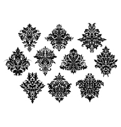 Black ornate flowers in damask style vector