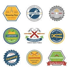 Carpentry color emblems vector
