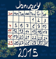 Calendar for january 2015 cartoon style fireworks vector