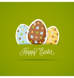 Happy Easter card with cute eggs paper style vector image