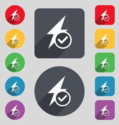 Photo flash icon sign a set of 12 colored buttons vector