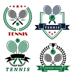 Tennis club logo with crossed rackets and balls vector
