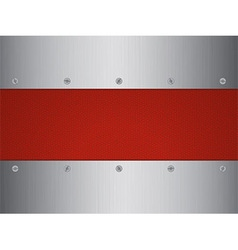 Brushed metal and leather panel with screws vector