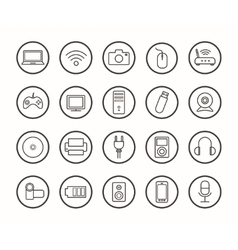 Digital technology linear icons set vector