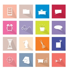 Collection of 16 office item icons banner vector