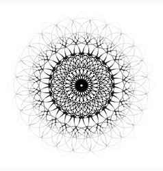Black ornamental mandala with central eye vector