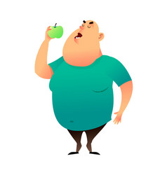 a fat man bites an apple useful habits and vector image