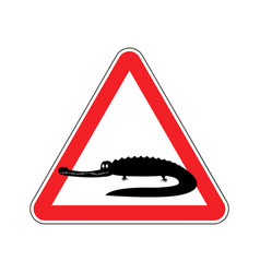 Attention crocodile alligator on red triangle vector