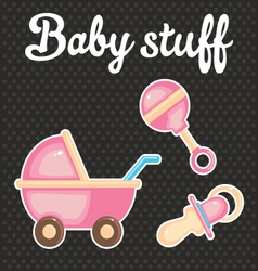 Baby scrapbook icon collection vector image