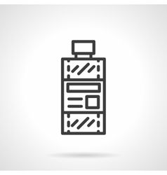Bottle of solvent black line design icon vector image