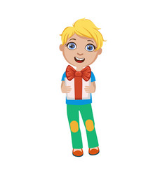 Boy holding present part of kids at the birthday vector