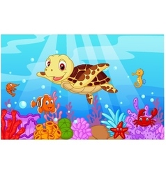 Cartoon baby cute turtle with collection fish vector image vector image