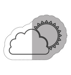figure cloud with sun icon vector image vector image