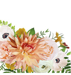 flower square card design pink anemone garden vector image