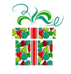 gift box made of christmas balls vector image vector image