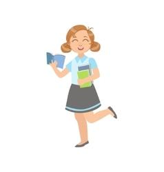 Girl In School Uniform With Open Book vector image vector image