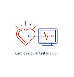 Heart test line icon electrocardiogram monitor vector