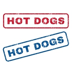 Hot dogs rubber stamps vector