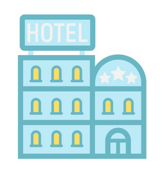 Hotel building flat icon travel and tourism vector