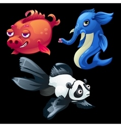 Hybrid animals and fish elephant panda pig vector