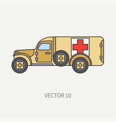 Line flat color icon ambulance army van vector