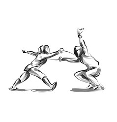 Line sketch fencers vector
