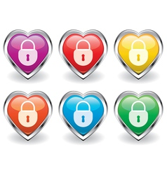 lock in the heart icons vector image vector image