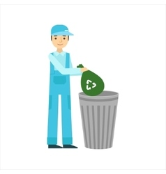 Man throwing garbage in recycle bin cleaning vector