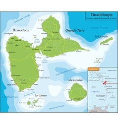 Map of Guadeloupe vector image vector image