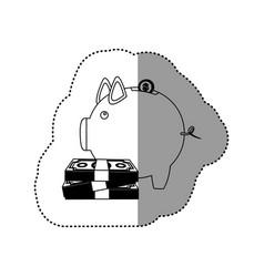 monochrome contour sticker of money box in shape vector image vector image