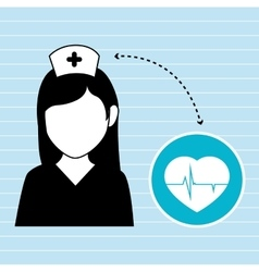 nurse and heart isolated icon design vector image vector image