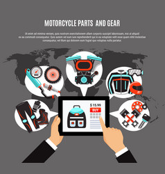 Online shopping of motorcycle parts vector
