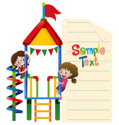 Paper template with kids plaing at playhouse vector