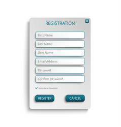 register web screen with atypical buttons template vector image