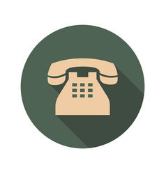 Retro phone icon with long shadows vector