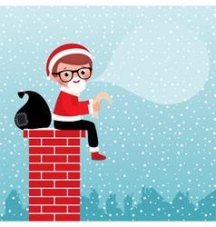 Santa Claus sitting on a chimney vector image vector image