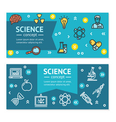 Science research horizontal banners posters vector