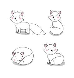 Set of cute little fox vector