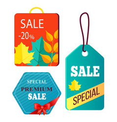 shopping bag design hanging advertisement tags vector image vector image