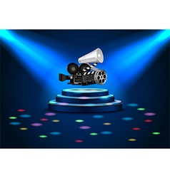 spotlights on stage with blue lights vector image vector image