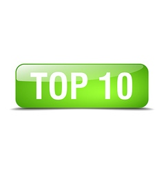 Top 10 green square 3d realistic isolated web vector