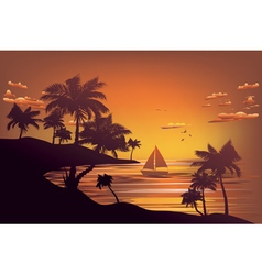Tropical Island at Sunset4 vector image vector image