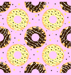 White and dark chocolate donuts with pink backdrop vector